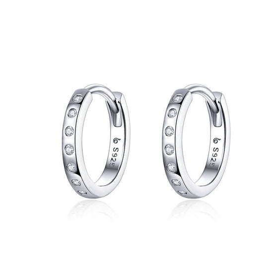 WOSTU Crystal Circle Hoop Earrings 925 Sterling Silver Korean Style Zircon Earrings For Women Wedding Minimalist Jewelry BSE101 - WOSTU