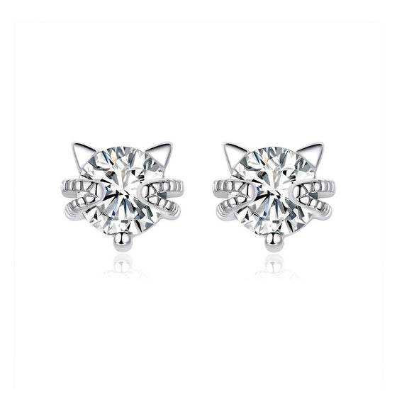 WOSTU Dazzling Crystal Cat Stud Earrings BSE205 - WOSTU