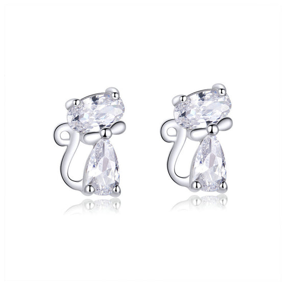 WOSTU Long Tail Cat Stud Earrings Jewelry Gift BSE206 - WOSTU