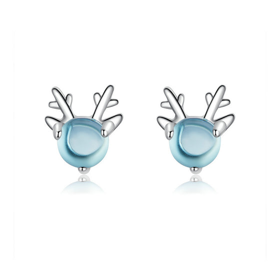 WOSTU Lovely Elk Blue Stud Earrings Wedding Jewelry BSE210 - WOSTU