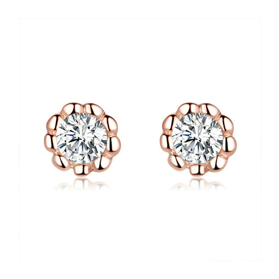 WOSTU Zircon Gentle Rose Golden Stud Earrings BSE219 - WOSTU