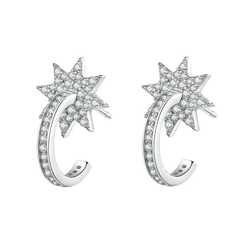 WOSTU Shiny star ROUND HOOP EARRINGS BSE258 - WOSTU