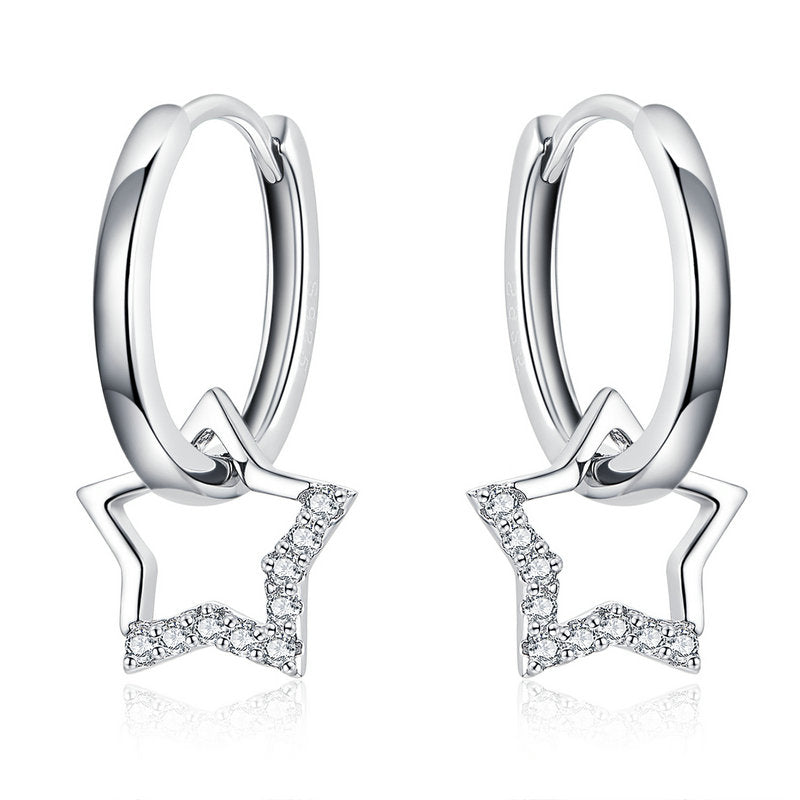 WOSTU ZIRCON STAR DROP EARRING BSE276 - WOSTU