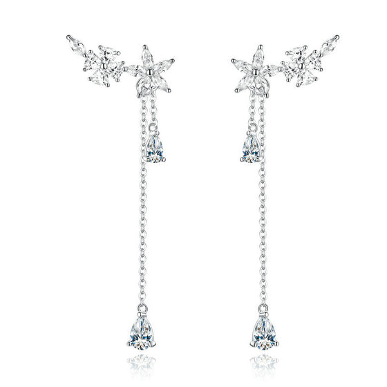 WOSTU ZIRCON FLOWER DROP LONG EARRING BSE288 - WOSTU
