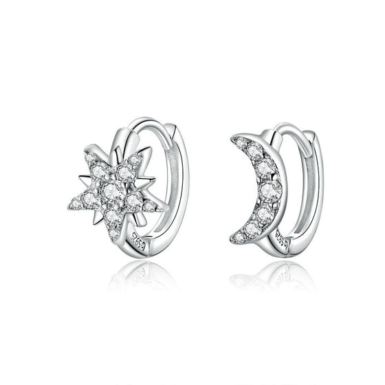 WOSTU Moon & Star Earrings Zircon Jewelry BSE289