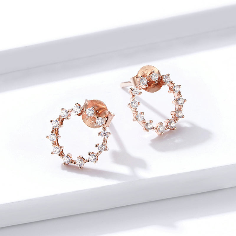 Stud Earrings Rose Gold CZ Round Jewelry BSE323 - WOSTU