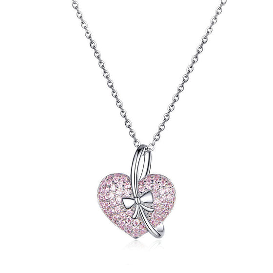 WOSTU Pink Heart & Delicate Bow Necklaces Clear CZ Long Chain Pendant For Women Teenage Girls Jewelry BSN049 - WOSTU