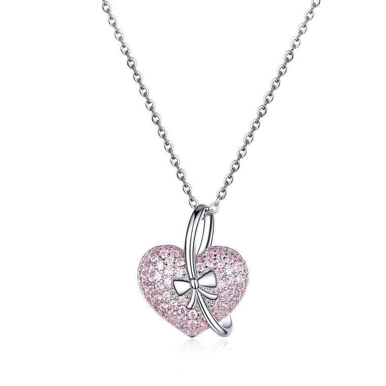 WOSTU Pink Heart & Delicate Bow Necklaces 925 Sterling Silver Clear CZ Long Chain Pendant For Women Teenage Girls Jewelry BSN049