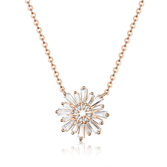 WOSTU SUNFLOWERS ROSE GOLD NECKLACE BSN117 - WOSTU
