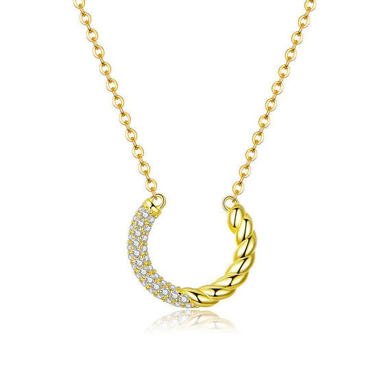 WOSTU GOLDEN ROUND DROP NECKLACE BSN137 - WOSTU