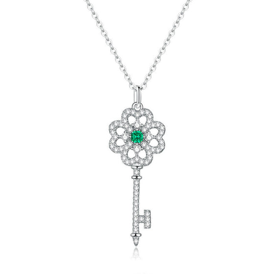 WOSTU Clover Necklace Zircon Unlock Key Shape Jewelry BSN141 - WOSTU