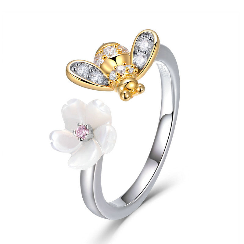 WOSTU Sales Sweet Wish Of Bee Finger Rings With Zircon for Women Silver Jewelry Lover Gift BSR013 - WOSTU