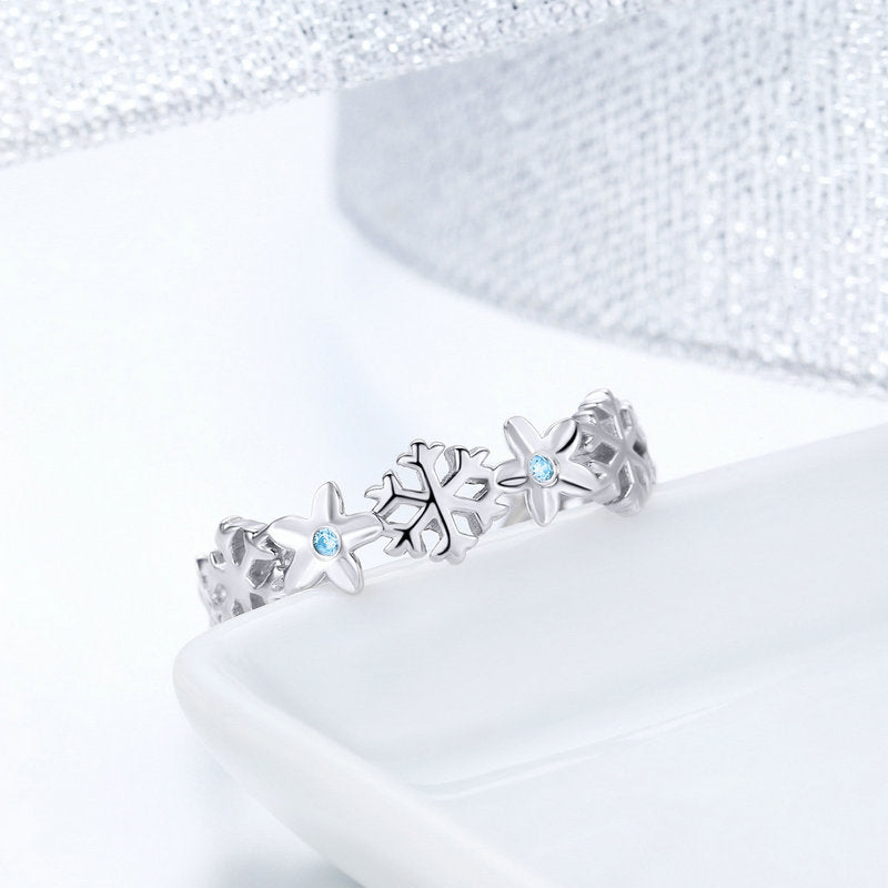 WOSTU Winter New Elegant Snowflake Stackable Finger Rings For Women Ring Fashion Brand Jewelry Gift BSR015 - WOSTU
