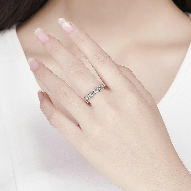 WOSTU Winter New 925 Sterling Silver Elegant Snowflake Stackable Finger Rings For Women Ring Fashion Brand Jewelry Gift BSR015 - WOSTU