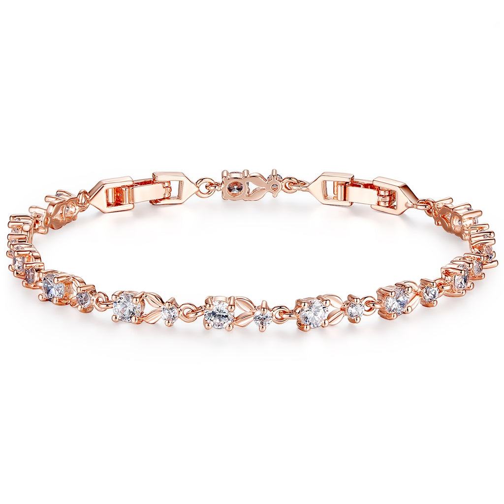 WOSTU Rose Gold Color Chain Link Bracelet for Women Ladies Shining AAA Cubic Zircon Crystal Jewelry JIB013 - WOSTU
