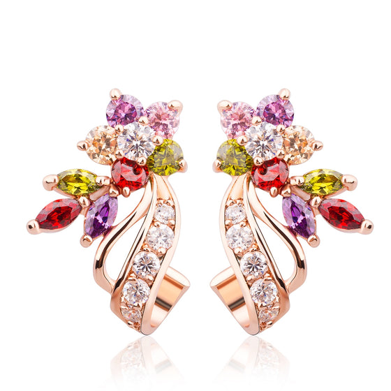 18K ROSE GOLD PLATED FASHION JEWELRY STUD EARRINGS WITH AAA COLORFUL ZIRCON CRYSTAL BIRTHDAY GIFT FOR TEEN GIRLS - WOSTU