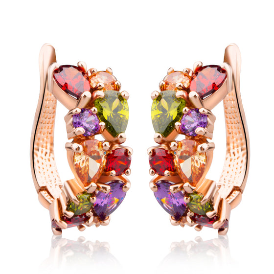 ROSE GOLD-PLATED RED GREEN YELLOW MULTICOLOR CUBIC ZIRCONIA STONE HOOP EARRINGS - WOSTU