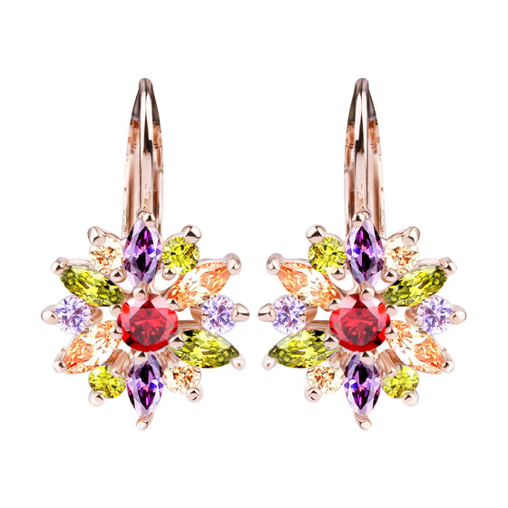 18K GOLD PLATED DROP EARRINGS WITH MULTICOLOR AAA ZIRCON FOR GILRS SISTERS JEWELRY - WOSTU