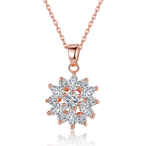 ROSE GOLD PLATED CLEAR CUBIC ZIRCONIA SNOWFLAKE FASHION PENDANTS NECKLACES CHAINS - WOSTU