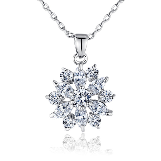 WHITE GOLD PLATED CLEAR CUBIC ZIRCONIA SNOWFLAKE CUTE PENDANTS NECKLACES CHAINS - WOSTU