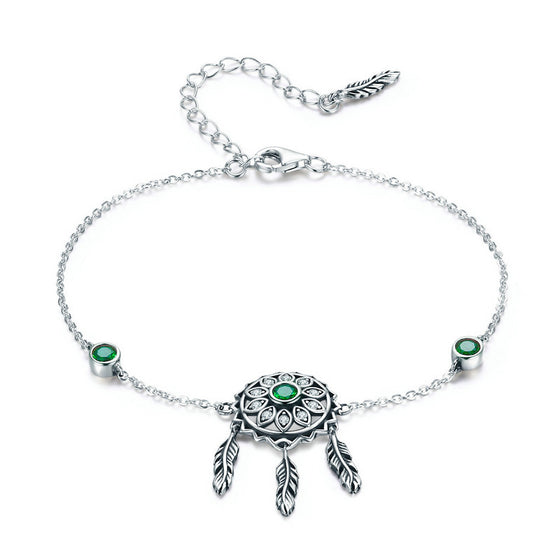 WOSTU Spring Style Green Flower Leaves Chain & Link Bracelets For Women Original Jewelry Gift SCB078 - WOSTU