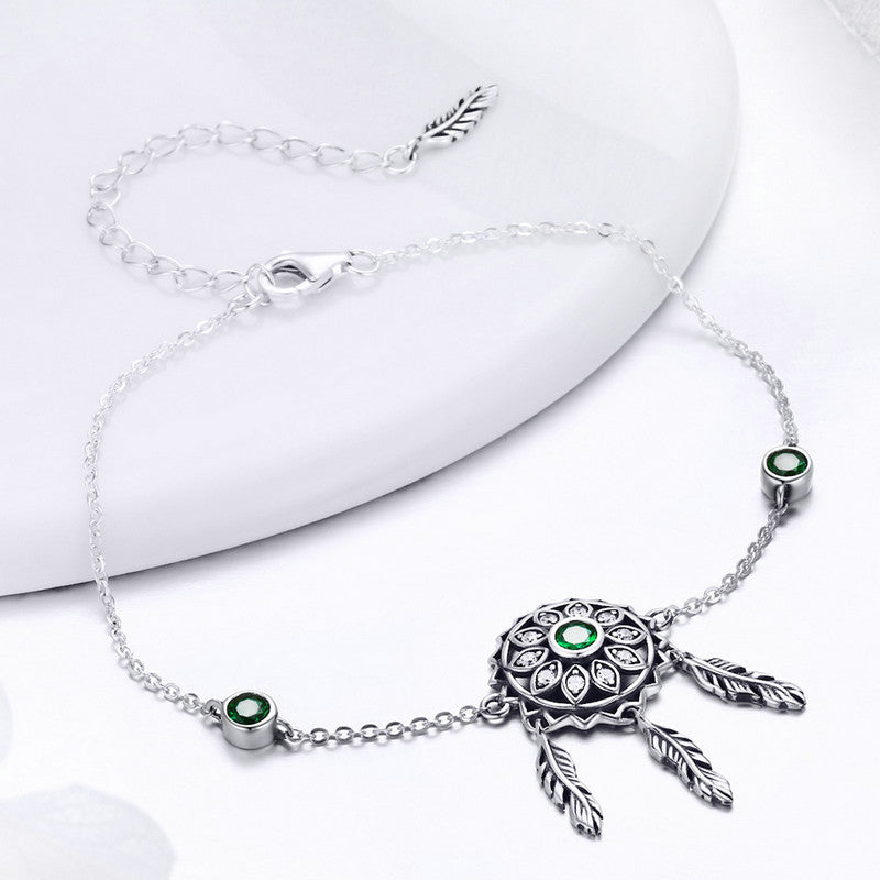 WOSTU Spring Style 925 Sterling Silver Green Flower Leaves Chain & Link Bracelets For Women Original Real Jewelry Gift SCB078 - WOSTU