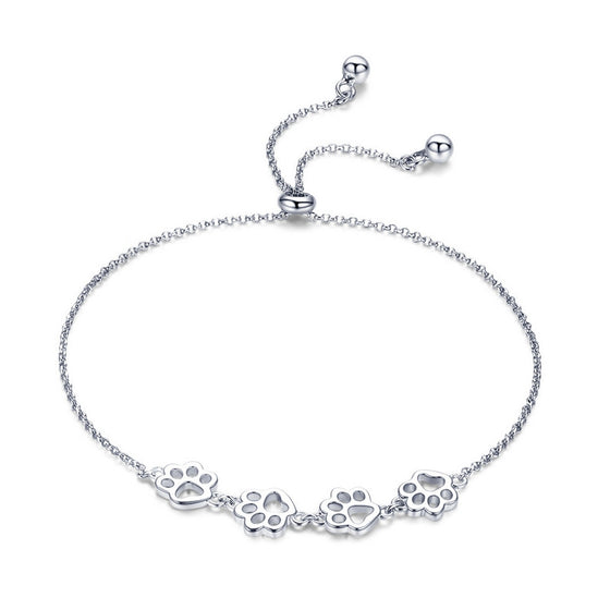 WOSTU Hot Fashion 925 Sterling Silver Paw Trail Dog Animal Chain & Link Bracelets For Women Cute Jewelry Lucky Best Gift SCB096