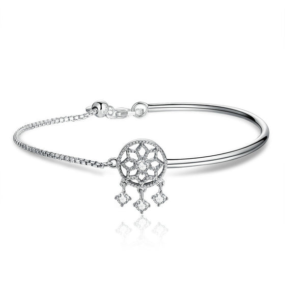 WOSTU 925 Sterling Silver Dreamcatcher Charm Bracelet Bangle For Women Girlfriend Birthday Original Jewelry Best Gift SCB116 - WOSTU