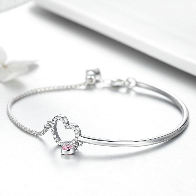 WOSTU Pink Love Charm Bracelet Bangle For Women Anniversary Romantic Jewelry Gift SCB117 - WOSTU