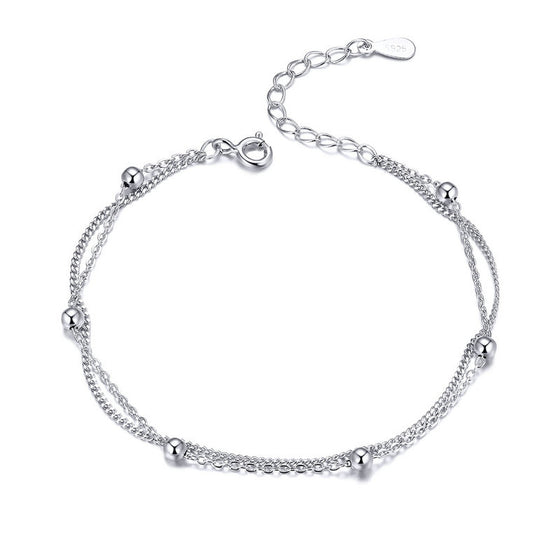 WOSTU Parallel Chains With Silver Bead Bracelets For Women Chain Link Silver 925 Jewelry SCB131 - WOSTU