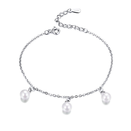 WOSTU 2019 Classic Freshwater Pearls Bracelets 925 Sterling Silver Chain Link For Women Wedding Party Silver 925 Jewelry SCB132