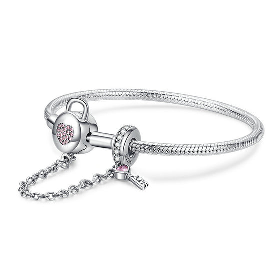 WOSTU 100% 925 Sterling Silver Heart Key Safety Chain Bracelets Pink Zircon Charm Bangle For Women Silver 925 Jewelry SCB143 - WOSTU
