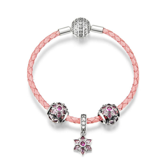 WOSTU Pink Peach Blossoms Beads Charm Bracelets For Women Original Romantic Silver Jewelry SCB816 - WOSTU