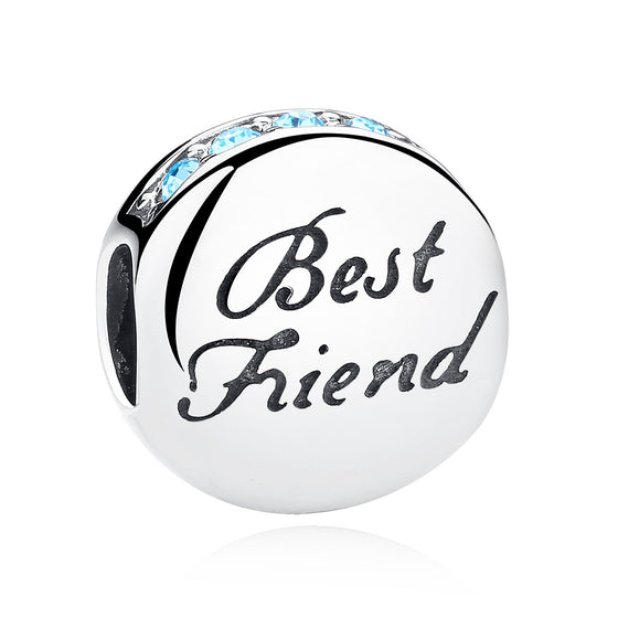 925 Sterling Silver BEST FRIEND Beads Charms fit Brand Bracelets Necklace Friendship Gift SCC022 - WOSTU