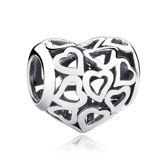 925 STERLING SILVER SKELETON HEART CHARMS FIT BRACELETS & NECKLACE FOR WOMEN ENGAGEMENT ACCESSORIES SCC024 - WOSTU