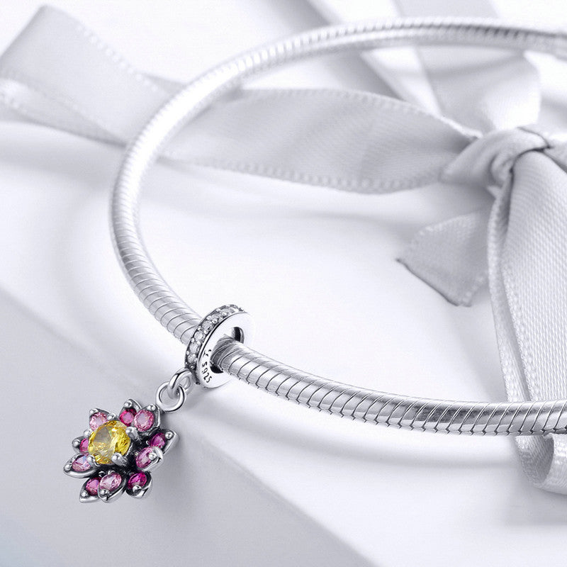WOSTU Flower Color Charm Fit Bracelet & Necklace Pendant Original Luxury Jewelry Best Gift SCC1009 - WOSTU