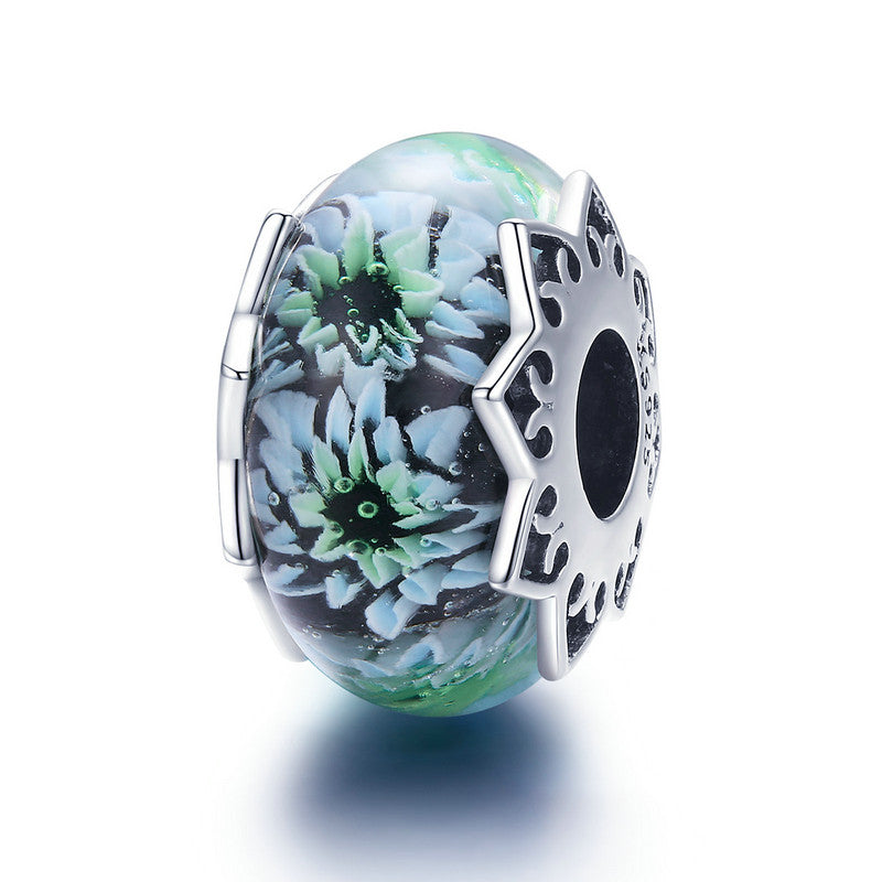 WOSTU 925 Sterling Silver Cyan chrysanthemum Murano Beads Fit Charm Bracelet & Necklace Pendant Original Jewelry Gift SCC1011 - WOSTU