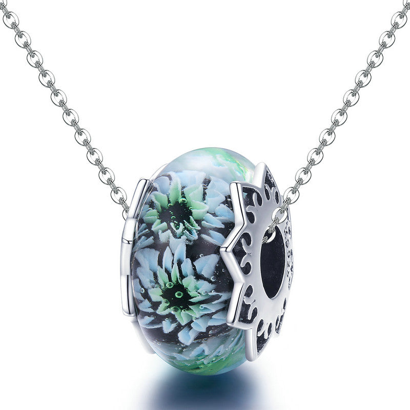 WOSTU 925 Sterling Silver Cyan chrysanthemum Murano Beads Fit Charm Bracelet & Necklace Pendant Original Jewelry Gift SCC1011