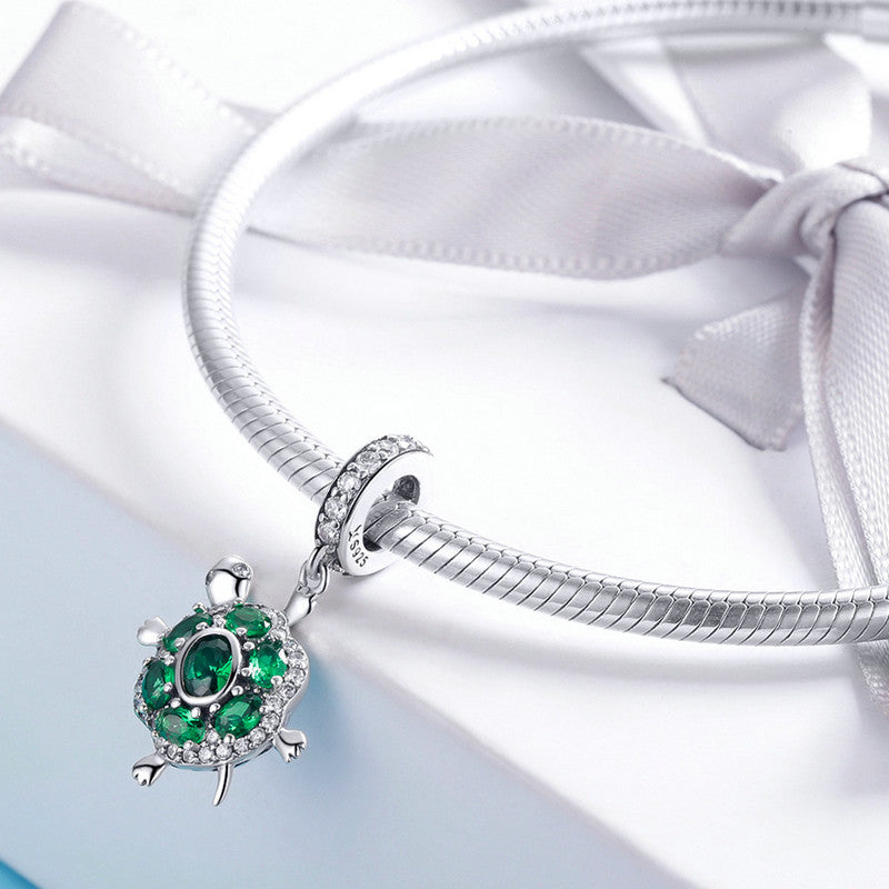 WOSTU Hot Fashion 100% 925 Sterling Silver Green Turtle Charm Fit Bracelet & Necklace Pendant Lovely Animal Jewelry Gift SCC1017