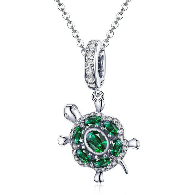 WOSTU Hot Fashion 100% 925 Sterling Silver Green Turtle Charm Fit Bracelet & Necklace Pendant Lovely Animal Jewelry Gift SCC1017 - WOSTU
