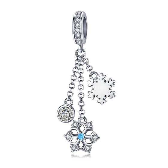 WOSTU Winter Design 100% 925 Sterling Silver White Snowflake Charm Fit Bracelet & Necklace Pendant Original Jewelry Gift SCC1020 - WOSTU