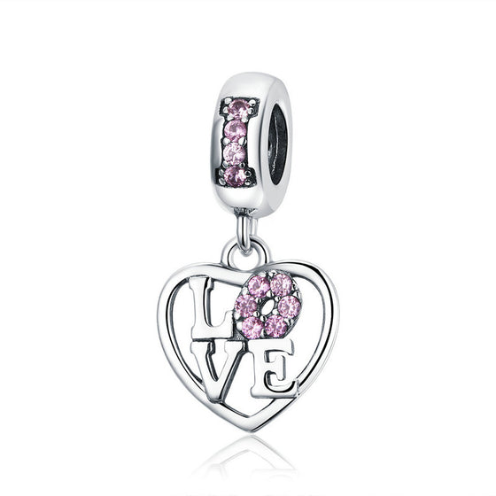 WOSTU 925 Sterling Silver Lover Heart Bead Charms Pendant Fit Charm Bracelet Luxury Jewelry Gift For Women Luxury Gifts SCC1044 - WOSTU