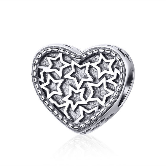 WOSTU Real 925 Sterling Silver Heart Star Bead Charms Fit Original Charm Bracelet Bangle DIY Authentic Jewelry Gifts SCC1052