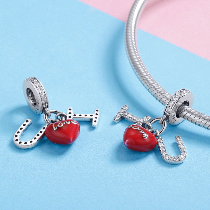 WOSTU I LOVE YOU Beads Fit Charm Bracelet & Necklace Pendant Romantic Cute Jewelry Gift SCC1055 - WOSTU