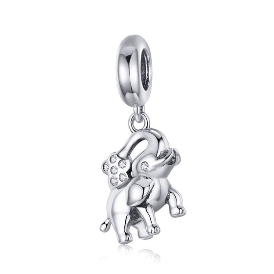 WOSTU Pure 925 Sterling Silver Elephant Animal Beads Fit Charm Bracelet & Necklace Pendant Unique Fashion Jewelry Gift SCC1059 - WOSTU