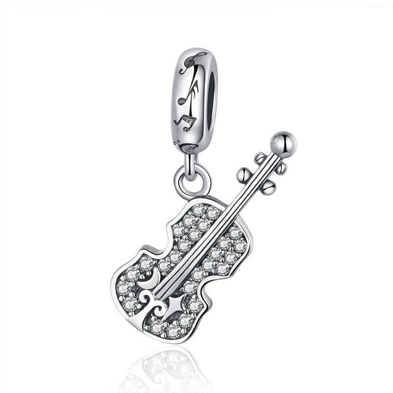 WOSTU 925 Sterling Silver Violin Guitar Music Bead Charms Pendant Fit Original Charm Bracelet Authentic Jewelry Gifts SCC1078 - WOSTU