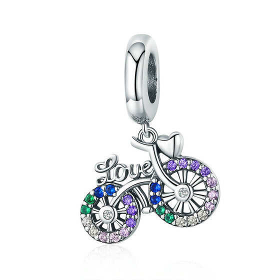 WOSTU Charms Silver 925 Bike Bicycle Rainbow Zircon Beads Fit Bracelet Pendant For Women Necklace Luxury Fashion Jewelry SCC1082 - WOSTU