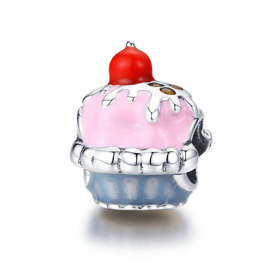 WOSTU New 925 Sterling Silver Pink Cup Cake Cherries Beads Fit Charm DIY Bracelet Pendant Women Beads For Jewelry Making SCC1084