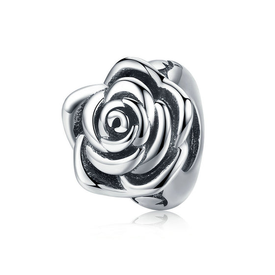WOSTU Luxury 925 Sterling Silver Rose Flower Beads Fit Charm Bracelet Necklace Pendant For Women Party Wedding Jewelry SCC1101