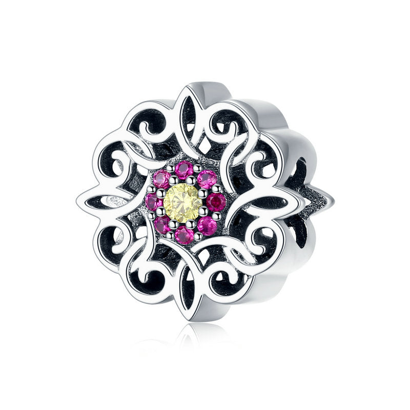 WOSTU Vintage Flower Charm Kaleidosco CZ Bead Fit Original Bracelet & Bangle Pendant Jewelry Making SCC1108 - WOSTU
